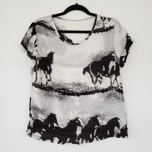 Tops - Sheer Horses Shirt - Black and White Top - Size S